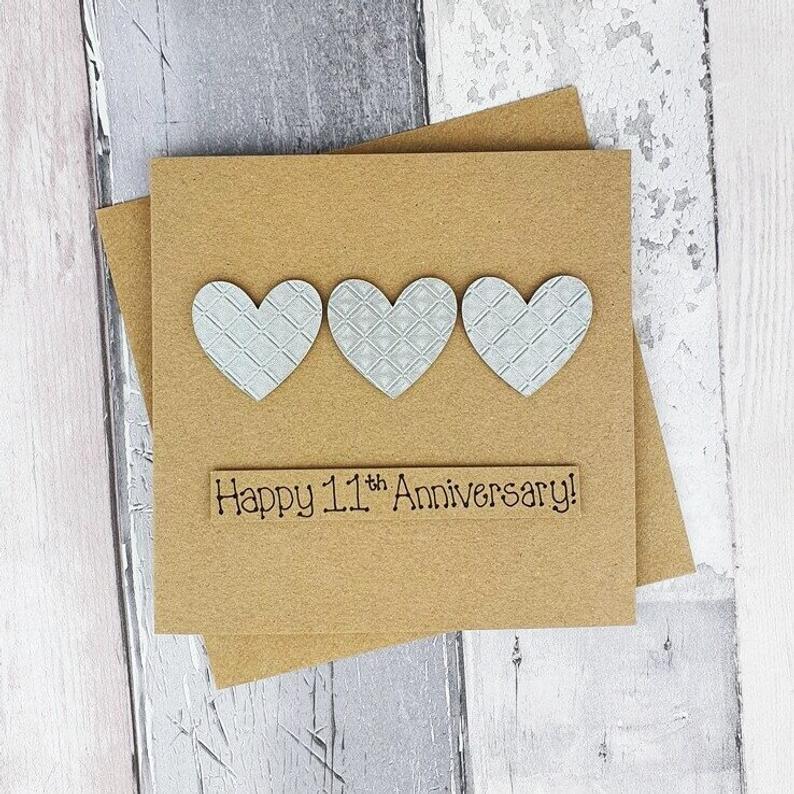 11th Anniversary Card Steel Wedding Anniversary Card Etsy Anniversary Cards Handmade Wedding Anniversary Cards Anniversary Cards