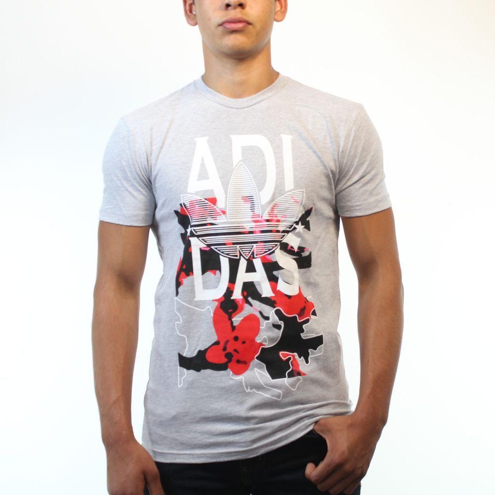 354b47f9 Adidas Original Sakura Pattern Trefoil Design Men's Grey T-shirt NEW Sizes  S-XL #Adidas #Tshirt