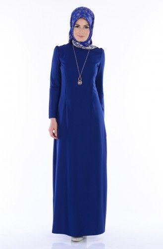 Sefamerve Kolyeli Elbise 2805 12 Lacivert Elbise Elbise Modelleri Basortusu Modasi