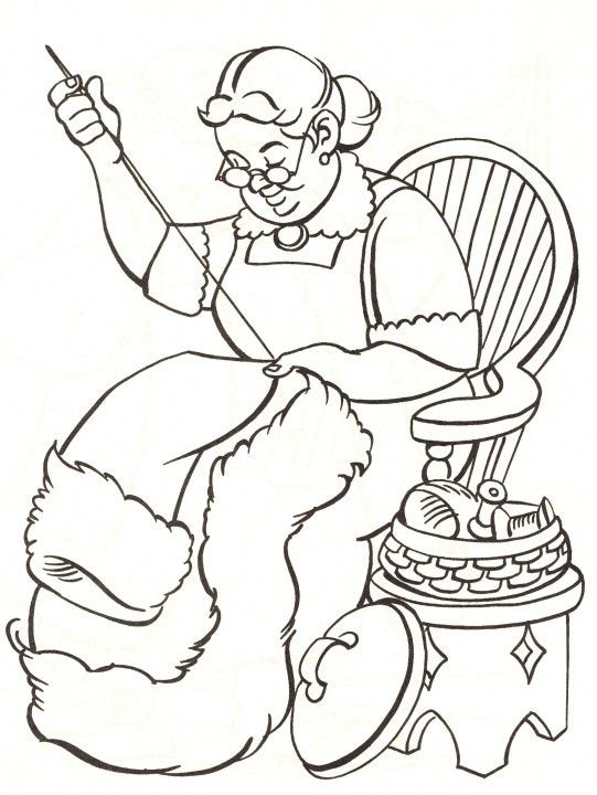 Mrs Claus Sewing 541 720 Coloring Pages Cartoon Coloring