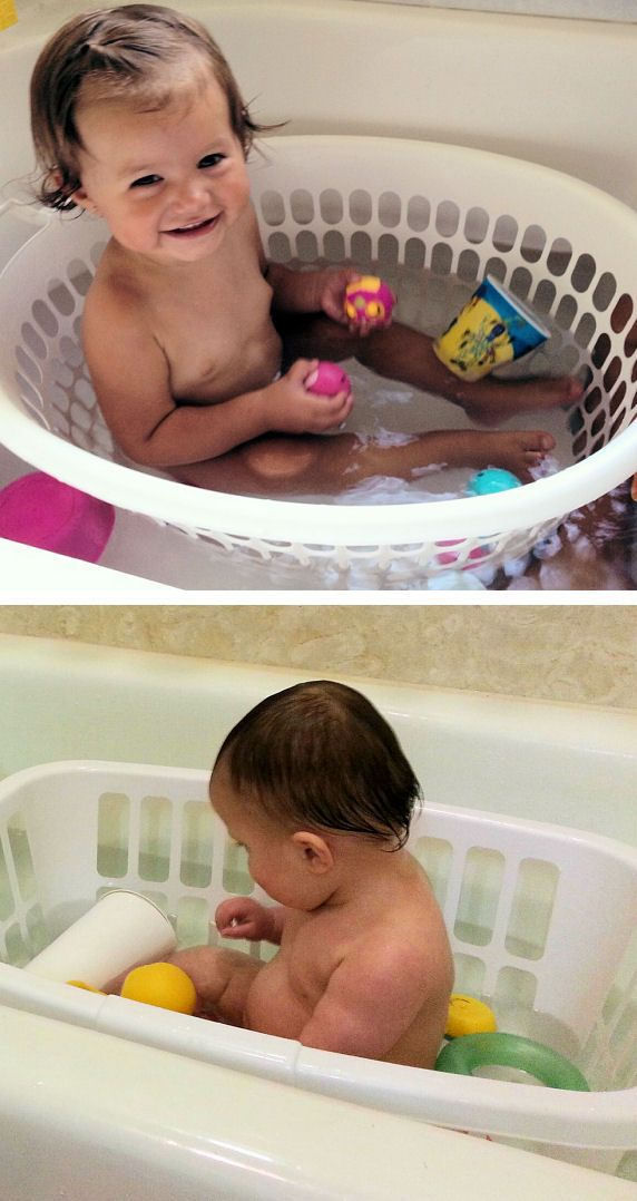 Tip Use A Laundry Basket In The Bathtub Makes An Awesome Seat For Little Ones Fills And Self Weights With Water E Baby Badespielzeug Trendy Baby Babykissen