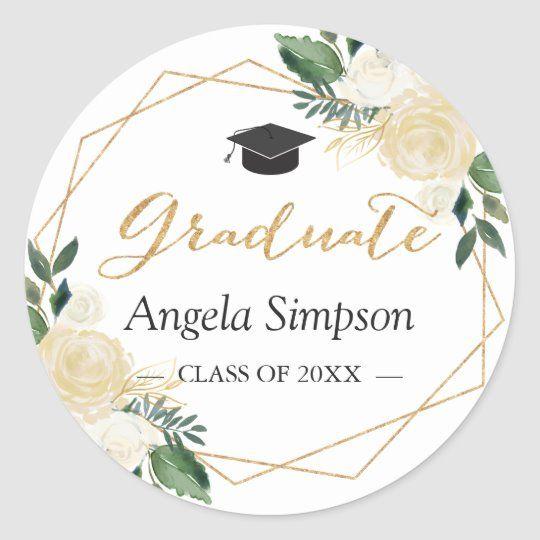 Photo of Modern Gold Green Floral Graduation Graduate Classic Round Sticker | Zazzle.com