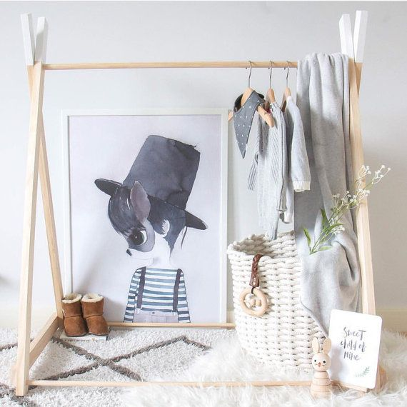handmade children wooden clothing rack timber clothes stand nursery decor child height wood. Black Bedroom Furniture Sets. Home Design Ideas