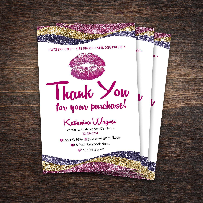 LipSense Thank You Card, SeneGence lipsense thank you, LipSense ...