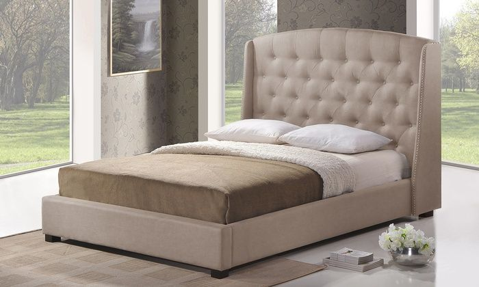 Modern Tufted Upholstered Wingback Beds Deal of the Day   Groupon