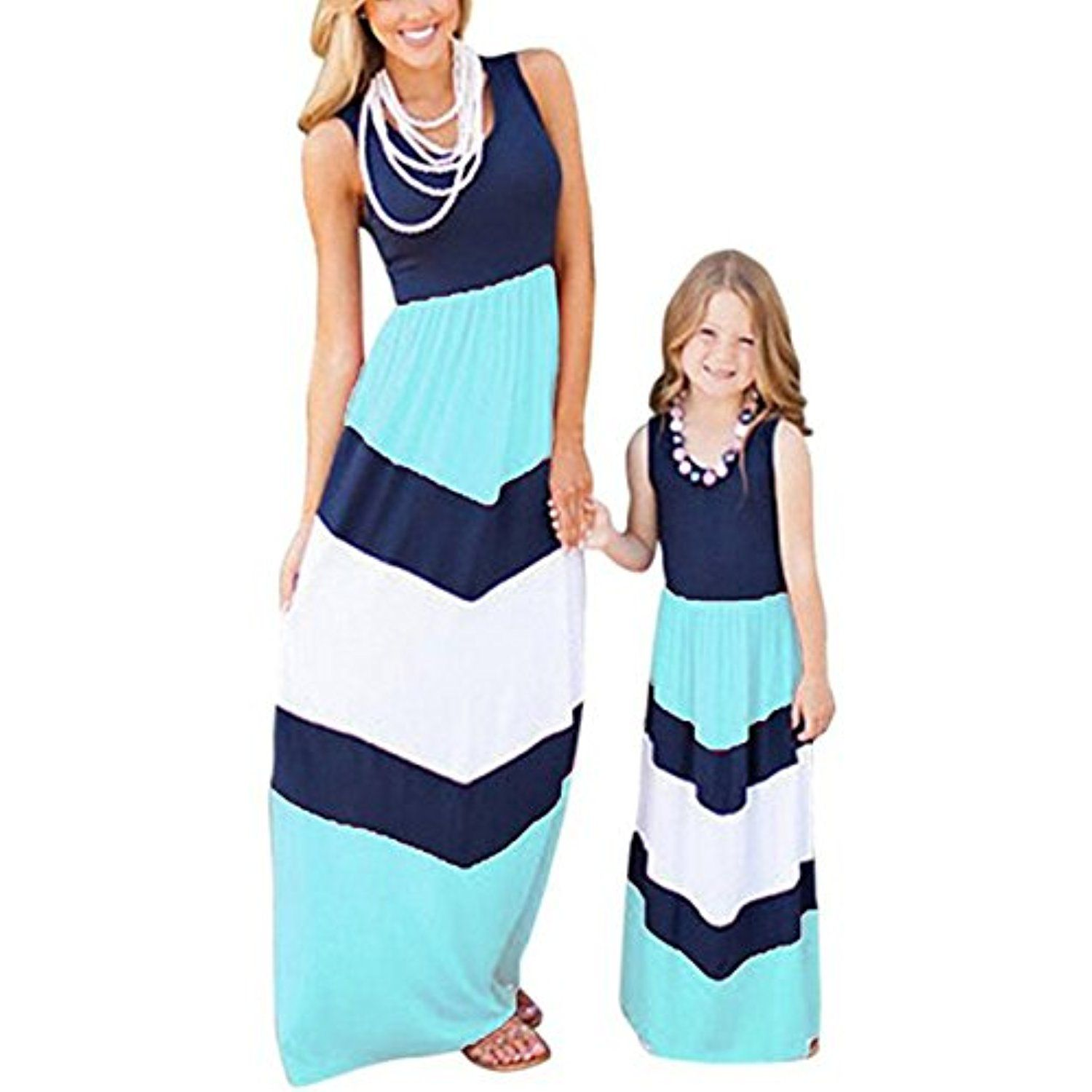 Mommy and me matching dresses long sleeve striped casual print tank