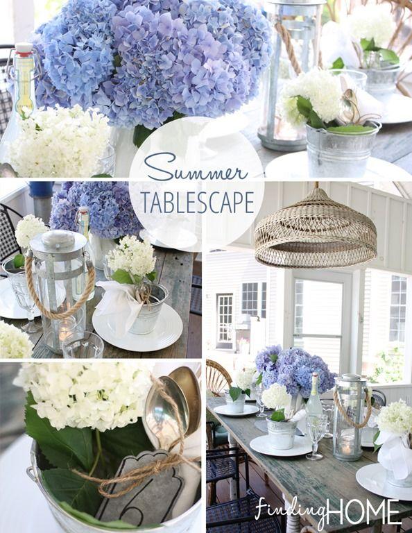 Decorating Ideas: Summer Tablescape | Table settings, Hydrangea ...