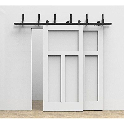 Antique 6 8 10ft Bypass Double Rustic Sliding Barn Wood Door Hardware Closet Kit Garage Door Design Bypass Barn Door Barn Door