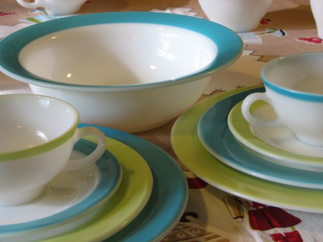 Lime and turquoise Pyrex dishes