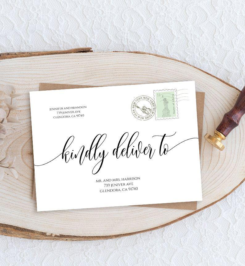 Envelope Address Template Printable Wedding Envelope Template Modern Calligraphy Printable Wedding Envelopes Envelope Addressing Template Wedding Envelopes