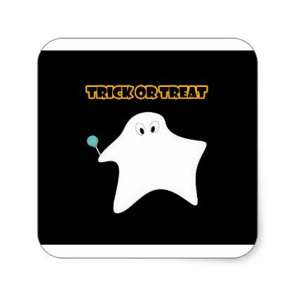Trick or treat - Halloween ghost candy lollipop Square Sticker - halloween candy treat ideas