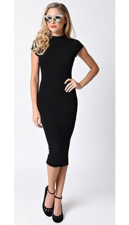Retro Style Black High Neck Cap Sleeve Wiggle Dress