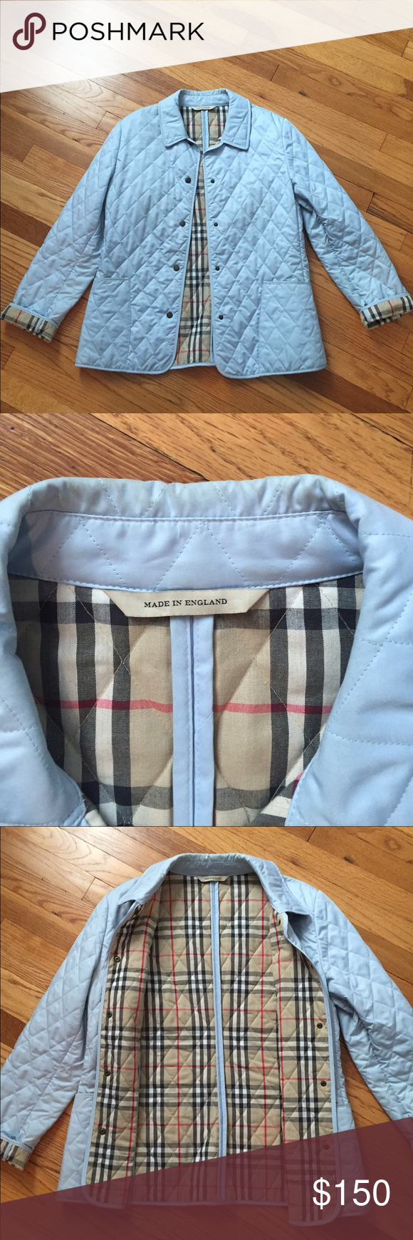 Authentic Burberry Quilted Jacket In Light Blue Burberry Quilted Jacket Quilted Jacket Jackets