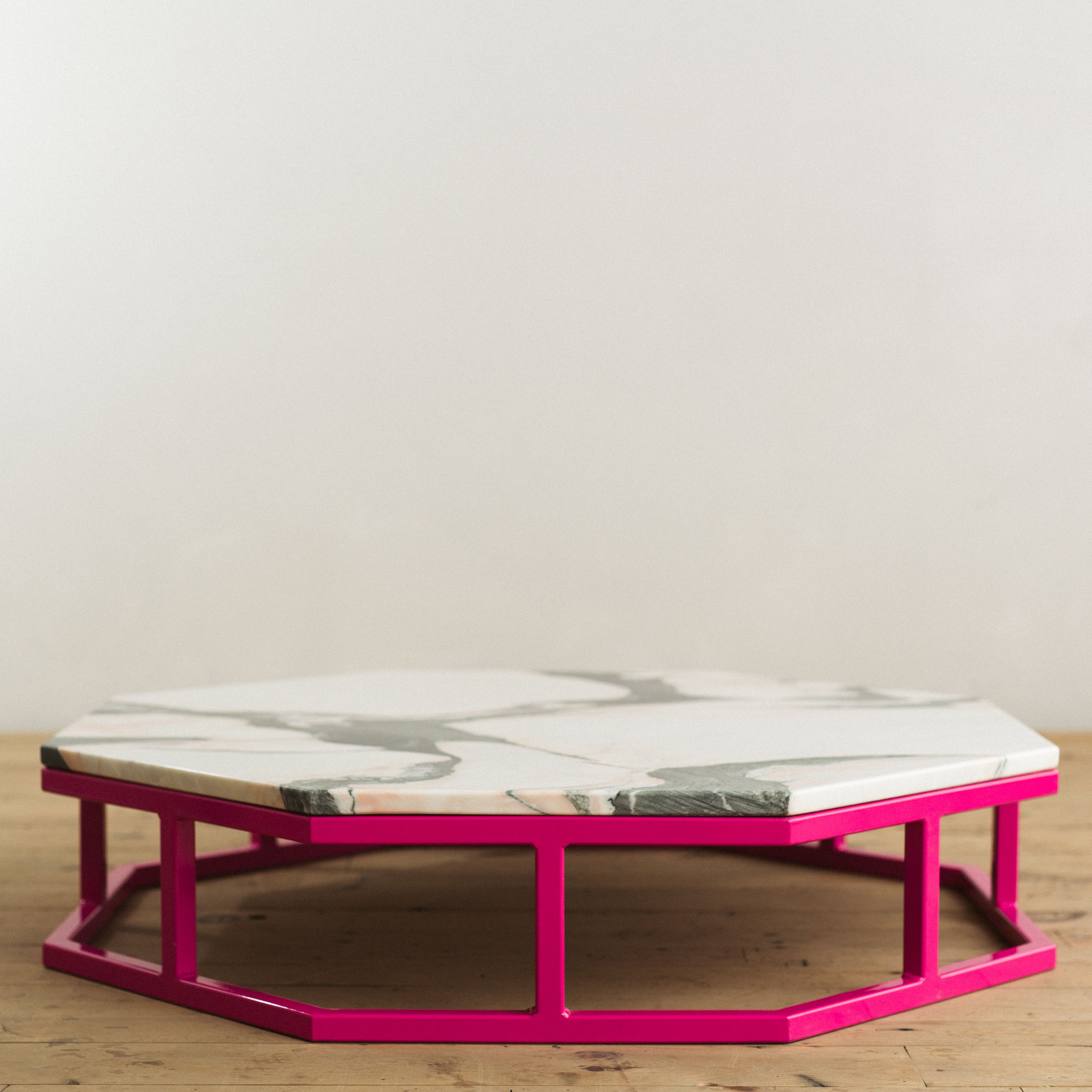 octagon steel marble coffee table pink 2