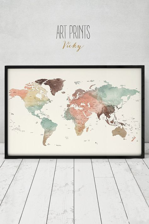 Large world map poster detailed world map print travel map pastel large world map poster detail world map print by artprintsvicky gumiabroncs Choice Image