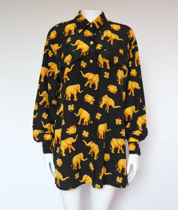 a7feb5154c032b Hello Im happy youre here VINTAGE PANDORA I offer vintage ESCADA BY MARGARETHA  LEY shirt blouse Made in Germany color: black/yellow 100% silk