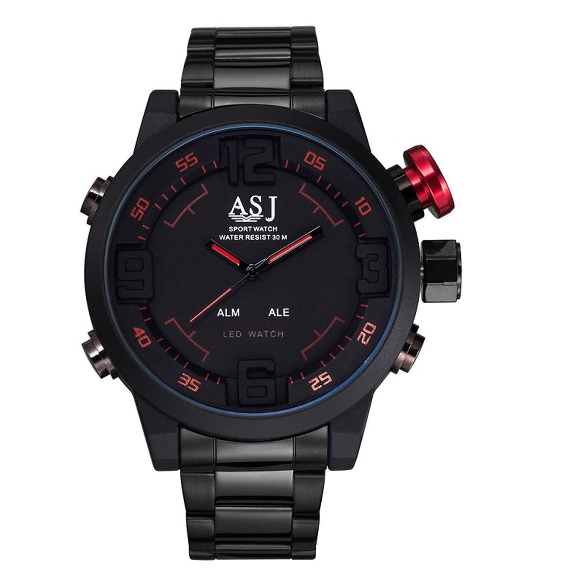 a626f1e0b63 2016 Original Brand ASJ Watch Men Black Steel Band Digital Watch Sports  Wristwatch LED Quartz Military