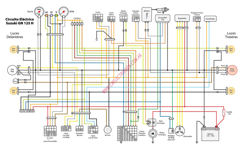resultado de imagen para diagrama electrico de suzuki gn 125 autos rh pinterest com suzuki sv650 suzuki gn 250 wiring harness diagram engine  [ 3000 x 1814 Pixel ]