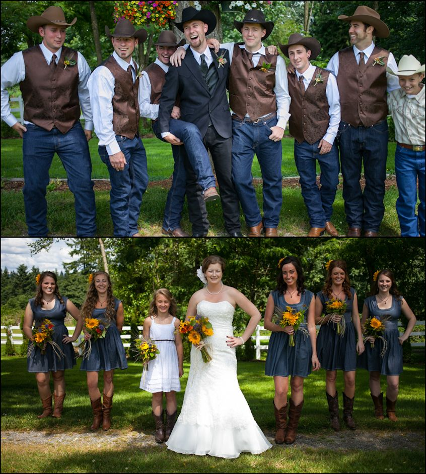 Thinking about something like this for the guys with out the hats all black cowboy hats red shirts black vests for the boys and the girls red bridesmaids dresses ombrellifo Image collections