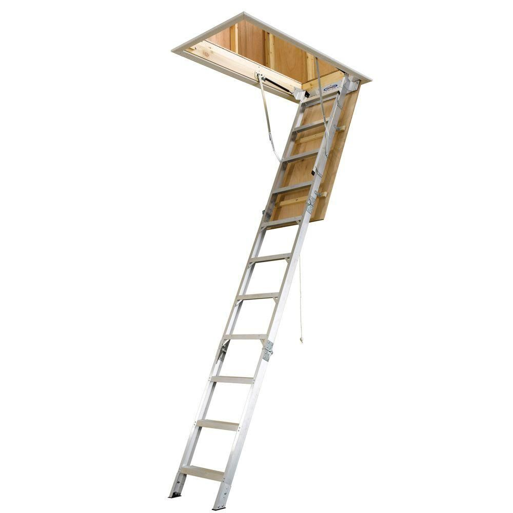 Werner 8 Ft 10 Ft 225 In X 54 In Energy Seal Aluminum For Sizing 1000 X 1000 Attic Pull Down Stairs Werner The Correct Hvac Will Also Mak Attic Ladder Attic Storage Attic Rooms