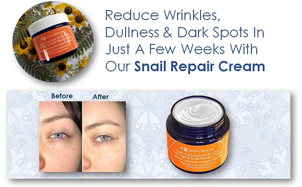 Korean Skin Care Snail Repair Cream Korean Moisturizer Night Cream 97 5 Snail Mucin Extract All In One Recovery Pow In 2020 Repair Cream Korean Skincare Skin Care
