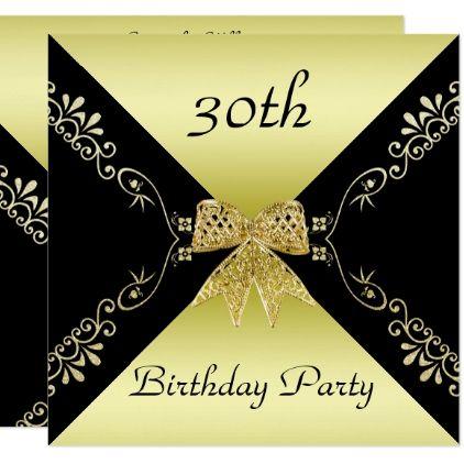 Stylish Gold Black Decorative Bow 30th Birthday Card 30th