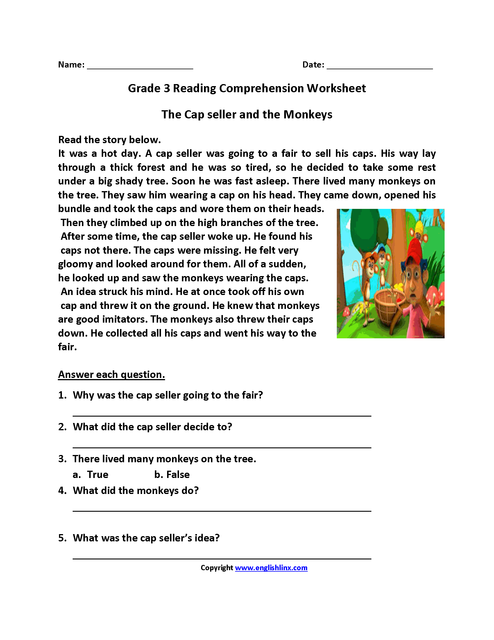 Worksheets Third Grade Reading Comprehension Worksheets cap seller and monkeys third grade reading worksheets classroom worksheets