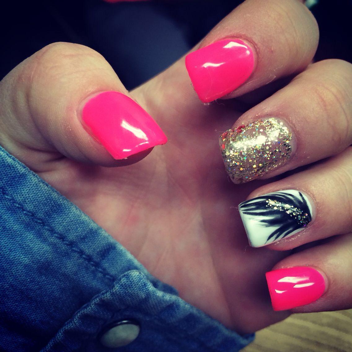 Bright Pink Acrylic Nails Pink Acrylic Nails Minion Nails Prom Nails