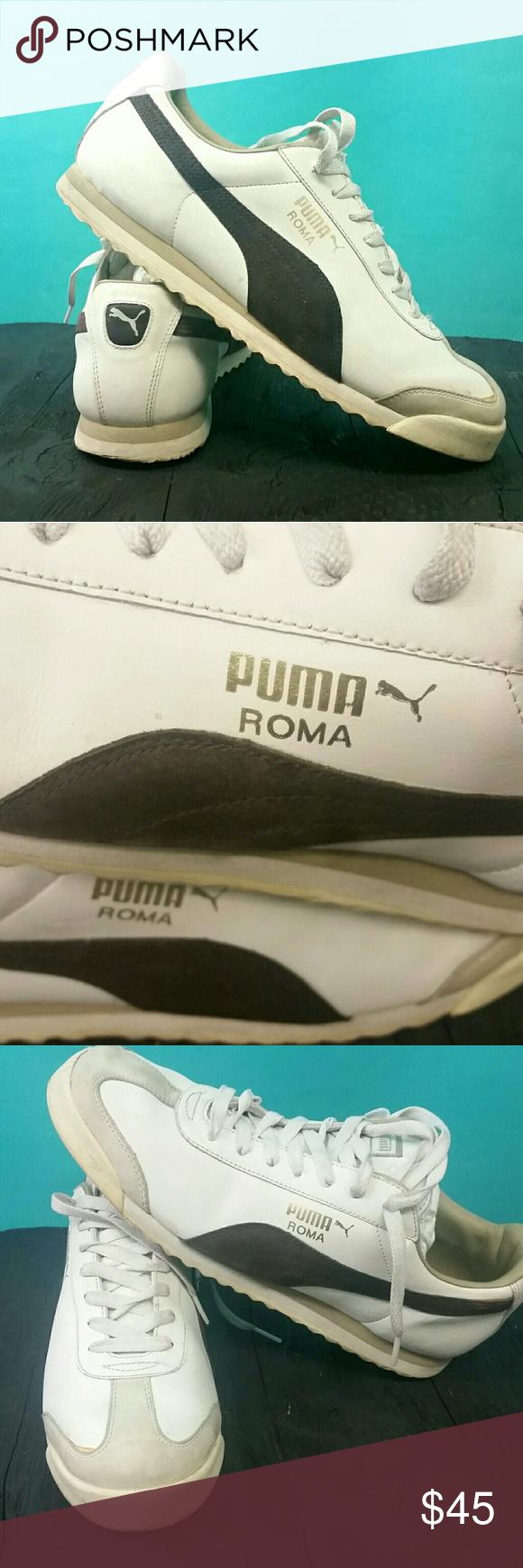 PUMA ROMA size 10 White \u0026 Brown used