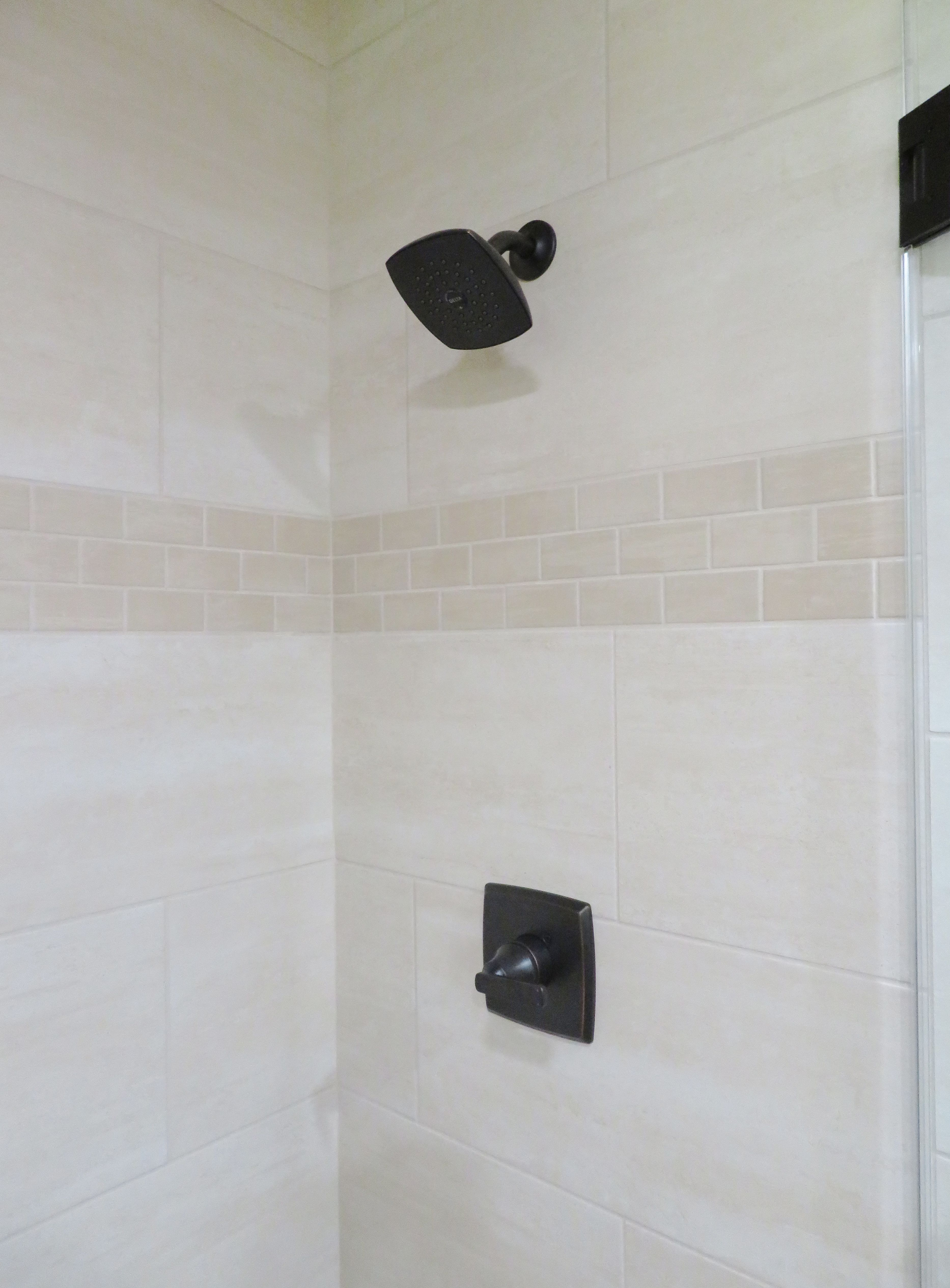 Tile shower with an accent strip. | Bathrooms Designs | Kitchen ...