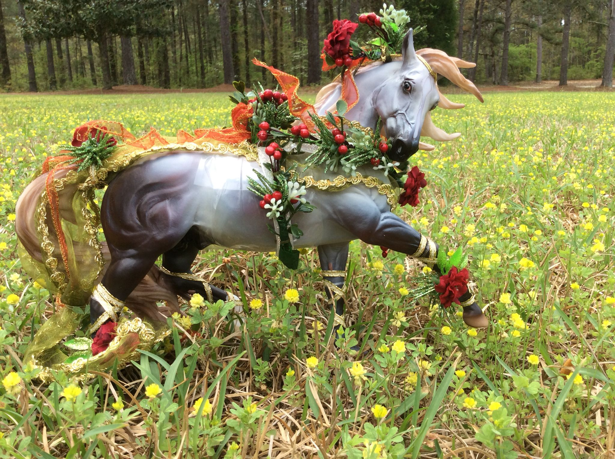 B toys carousel bells   Holiday Horse Bayberry And Roses Grey Horse Stallion