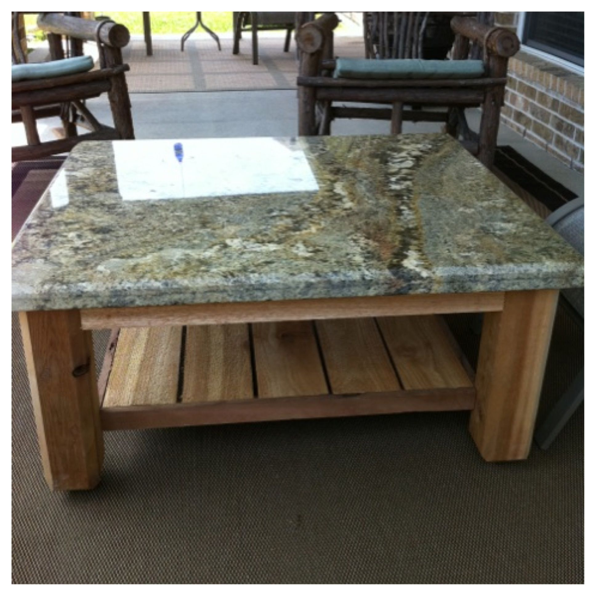 Custom Outdoor Patio Table With Granite Top This One Was Just Delivered To A Great