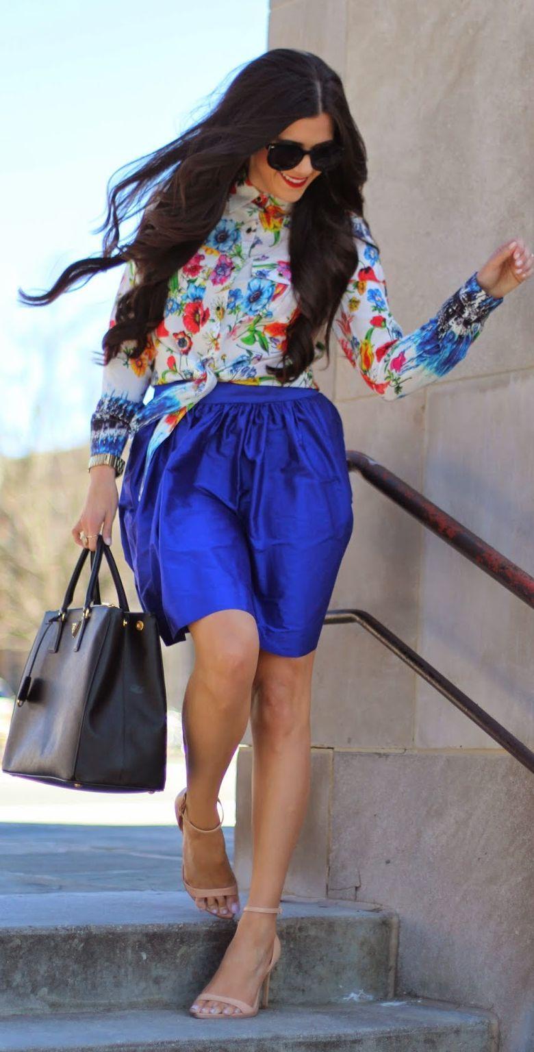 Modern Girl Shop Cobalt Blue Fluffy Silk Skirt by The Sweetest Thing