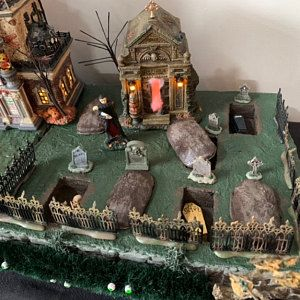 MOUNTAIN OVERLOOK Christmas Village house Display, platform base 28x12 Dept 56 Lemax, for Department 56 city buildings, sidewalk, nmp #halloweenvillagedisplay