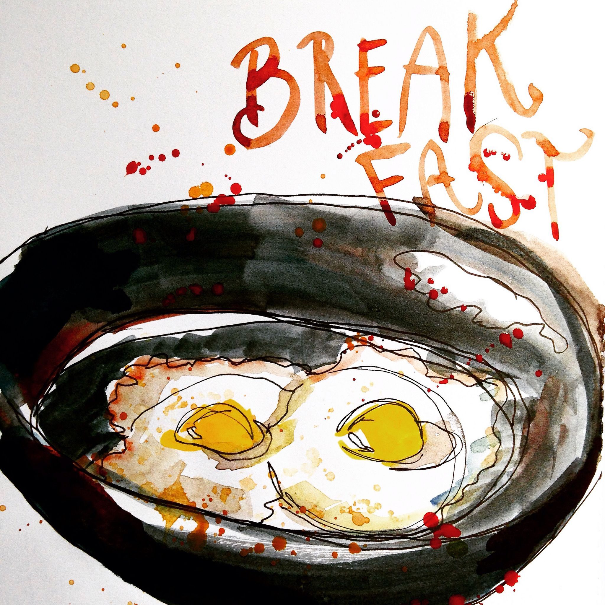 Breakfast | Fried eggs in a skillet | By: melisnorth