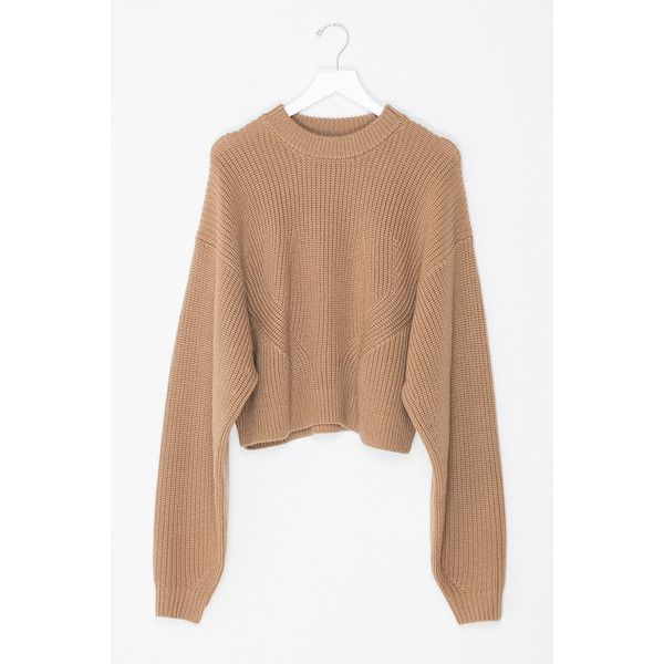 Oversized Sleeved Crop Wool Sweater ($185) ❤ liked on Polyvore ...
