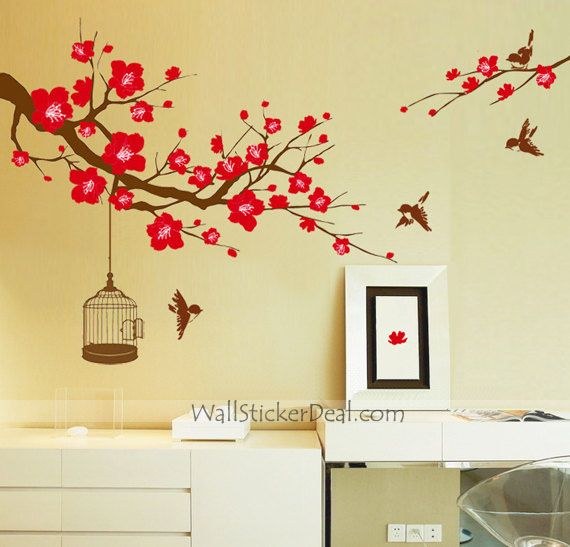 Plum Tree Flower With Birds and Birdcage Wall Stickers | Flowers ...