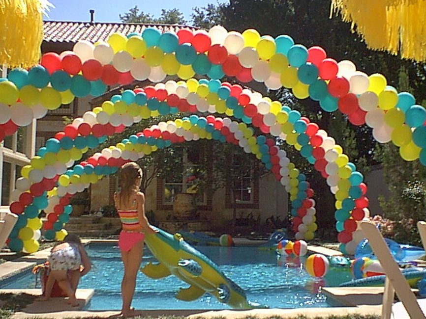 Pin By Lucia Flores On Pool Party Fun Balloon Arch Balloon Decorations Pool Party Fun