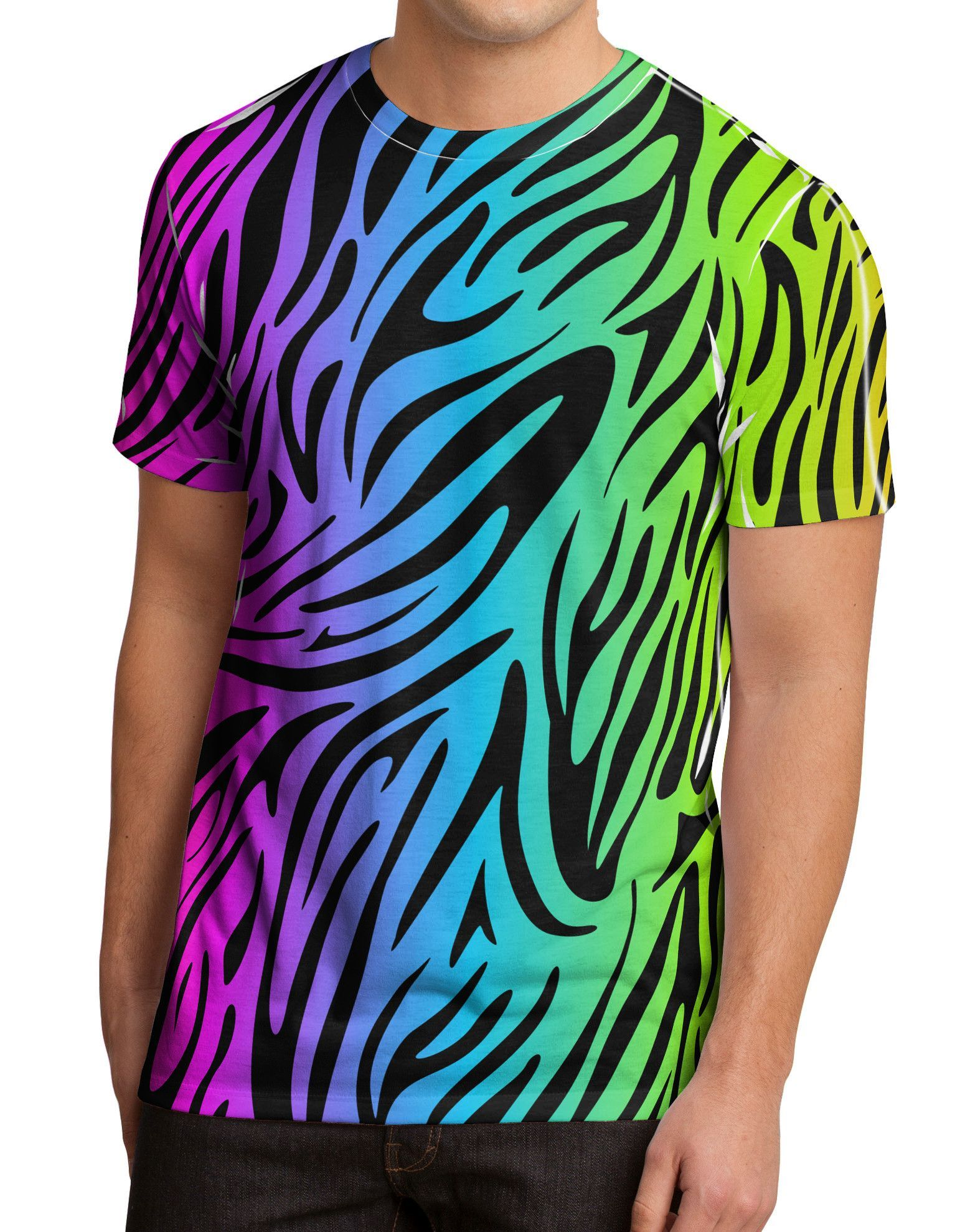 75046e4cf3c9c TooLoud Rainbow Zebra Print Men s Sub Tee Dual Sided All Over Print ...