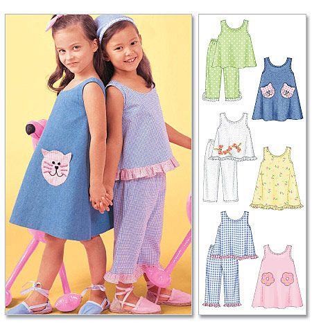 Tops and Pants 6 8   Sewing Pattern 7 McCall/'s 4006 Girls/' Dresses
