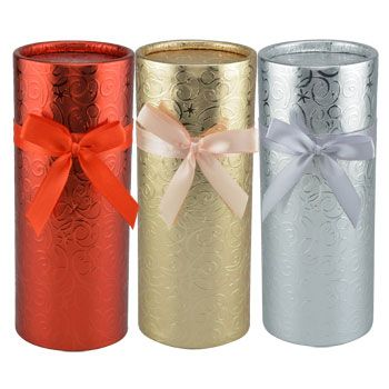 Bulk Round Foil Wrapped Gift Boxes With Slide On Lids 8 At