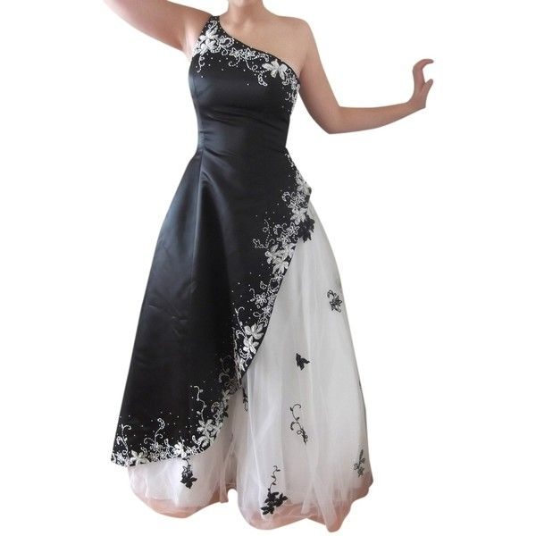 Pre-owned Jovani Black/white Ball Gown Prom One Vintage Beaded ...