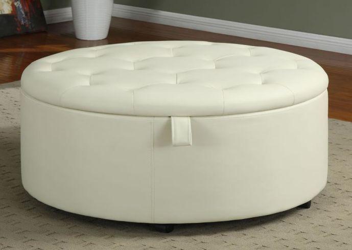 round fabric storage ottoman coffee table | EIDOLONAI. | house decor ...
