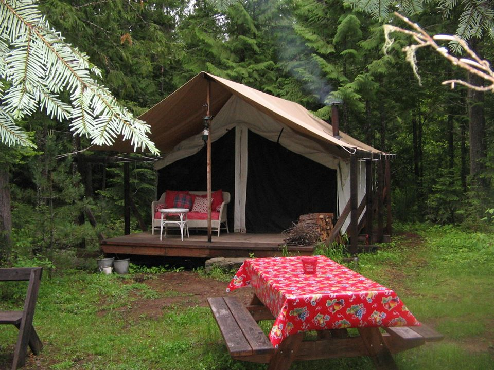 For the backyard cabin tents canvas platform tents for Canvas platform tents