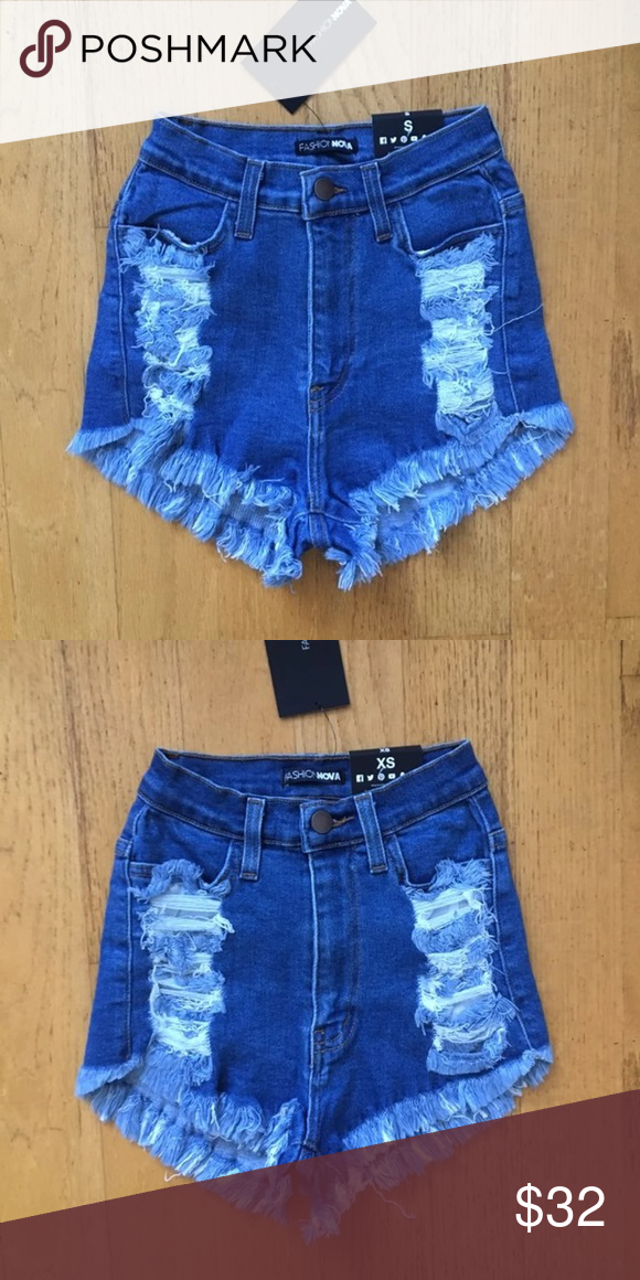 568ef0021d Fashion Nova High Waisted Distressed Denim Shorts Brand new with tags  attached! Stretchy material.