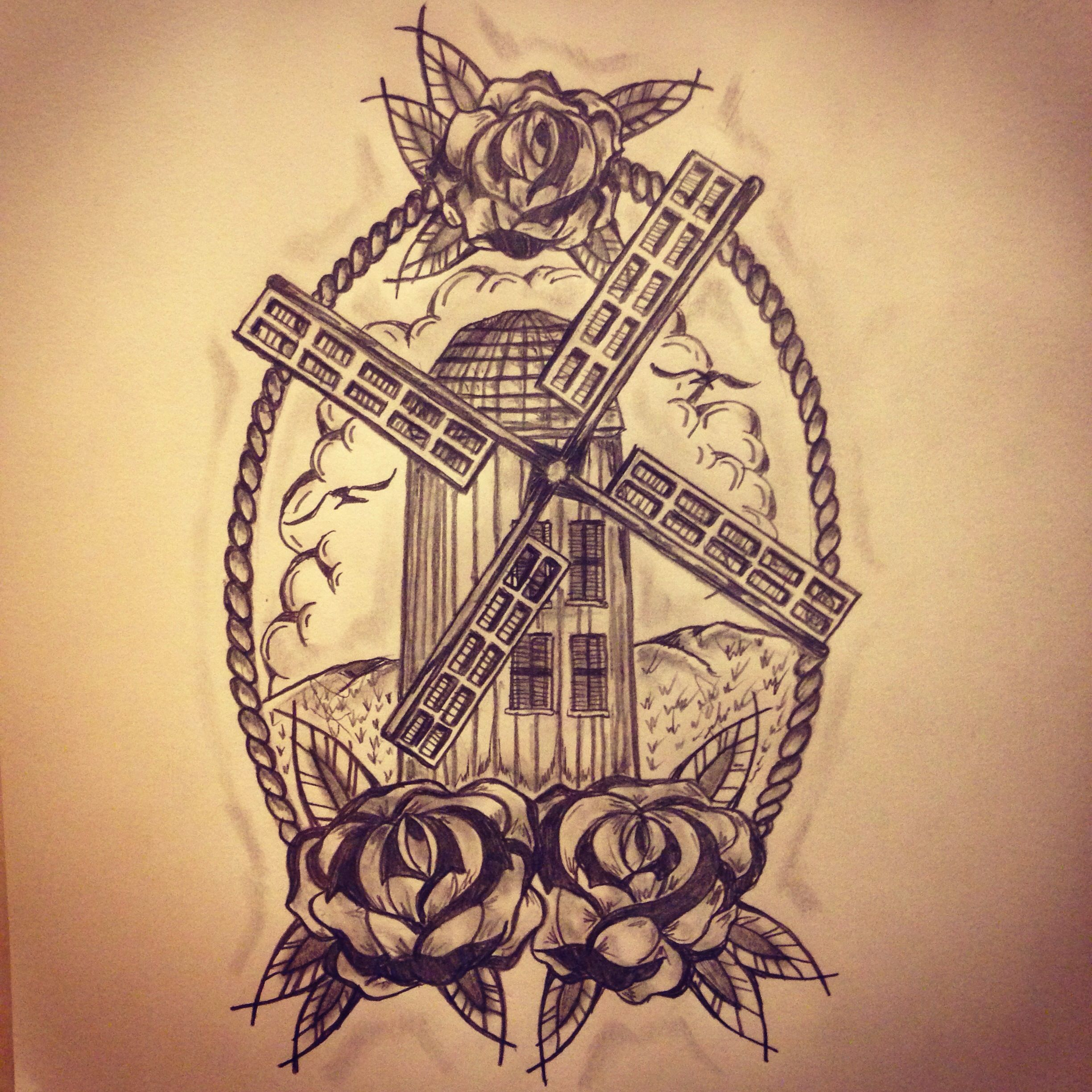 new traditional windmill tattoo sketch by ranz tattoo art sketches all pieces and pics. Black Bedroom Furniture Sets. Home Design Ideas