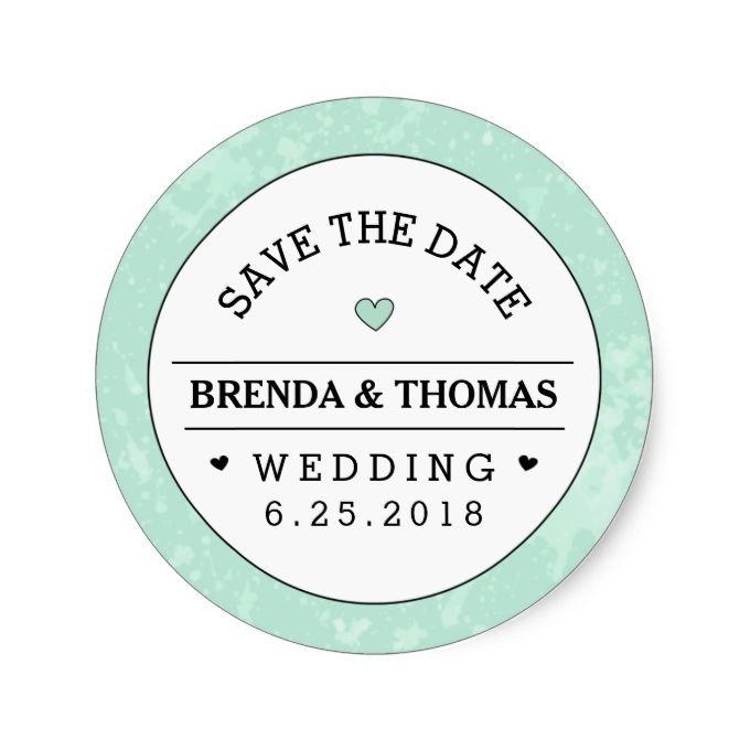 Mint green black and white wedding save the date classic round sticker