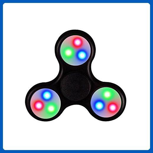 3 LED Hand Spinner Tri Fidget Finger Spinner EDC Spin Stress Focus Desk Toy Gift