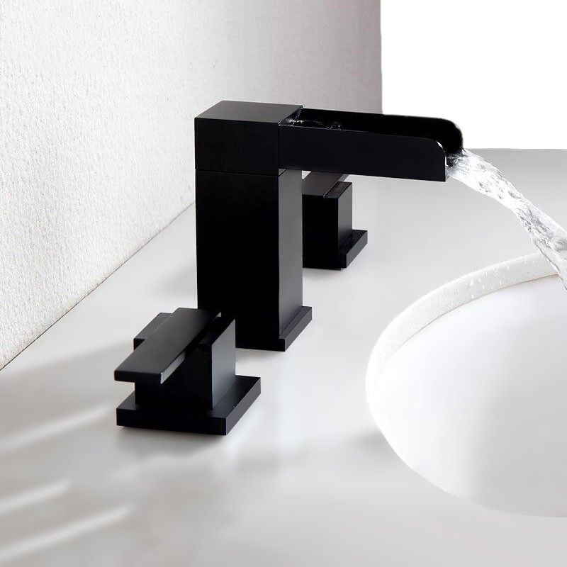 Mero Modern Waterfall Widespread Double Handle Right Angled Bathroom Sink Faucet In Matte Black Finish In 2020 Modern Bathroom Faucets Bathroom Faucets Waterfall Sink Faucets