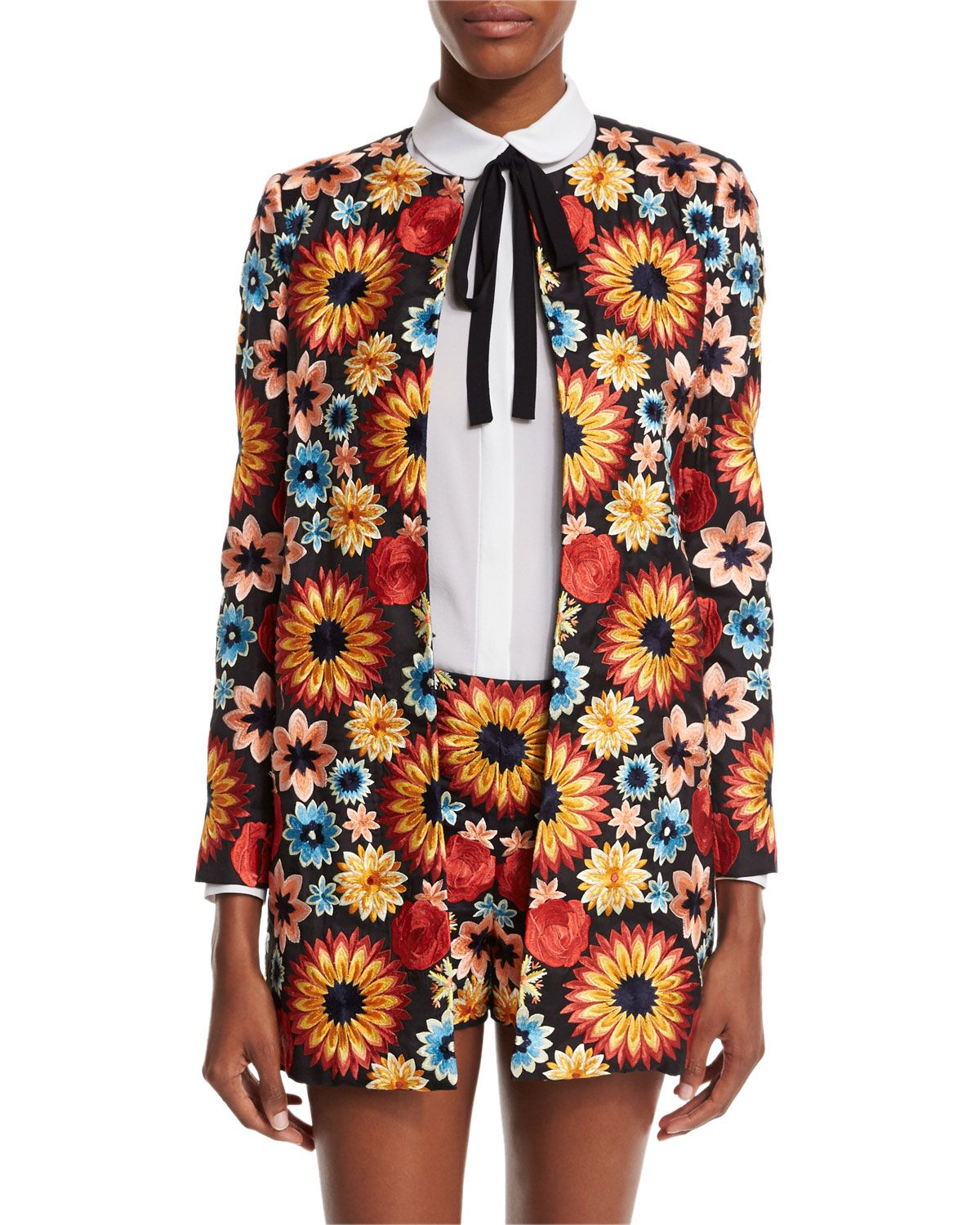 Rory Floral Embroidered Jacket, Multicolor, Size: LARGE, Multi Colors - Alice   Olivia
